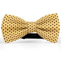Bow Tie for Men, yellow, butterfly, silk satin, bicolored, shiny, black centered small dots, handmade