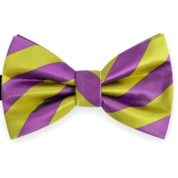 Bow Tie for Men, purple, butterfly, silk satin, bicolor, shiny, yellow oblique wide stripes, handmade