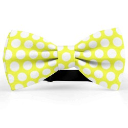 Bow Tie for Men, yellow, butterfly, silk satin, with model, shiny, white centered big dots, handmade