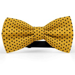 Bow Tie for Men, yellow, butterfly, silk satin, bicolored, shiny, black dots, handmade