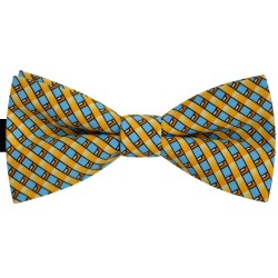 Bow Tie for Men, yellow, classic, silk satin, with model, non-shiny, blue oblique thin stripes, handmade